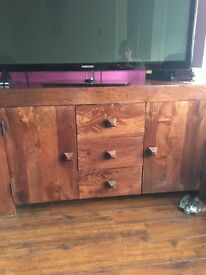 Real wood side board