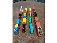 Set of wooden trains / cars plus free Harold