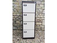 4 drawer lockable foolscap metal filing cabinet.