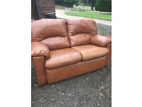 G plan two seater leather sofa