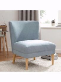 Fabric Accent Chair Armchair - Scandi Mid Century Style - Duck Egg
