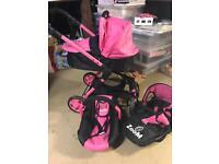 Dimples zoom pink black 3 in 1 Girls dolls pram travel stroller pushchair kids toys