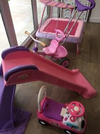 ELC trampoline, trike & Minnie Mouse ride on