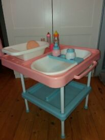 Kids toy doll changing table and accessories