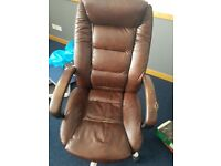 LEATHER COATED BROWN EXECUTIVE CHAIRS SOLD AS SEEN