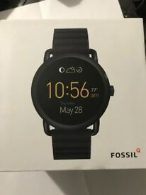 Brand new fossil Q wander smart watch with black strap boxed with charger