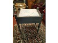 Upholstered piano/dressing table/storage stool