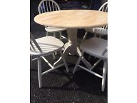 Cream Painted Oak Dining Table & 4-6 Chairs