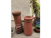 Pair of Light Red Vintage Clay Chimney Pots - Garden Decor