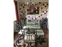 Dining table, chairs, sofa table and mirror suite