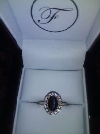9ct gold diamond & sapphire ring