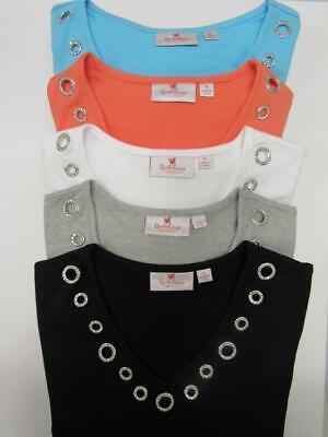 Quacker Factory Gem Stones Long Sleeve Tunic Jersey Shirt XXS-3X CHOOSE COLOR+SZ ()