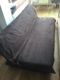 Sofa bed brown faux suede