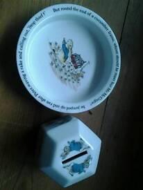 Wedgwood Peter Rabbit Bowl and Hexagonal money box