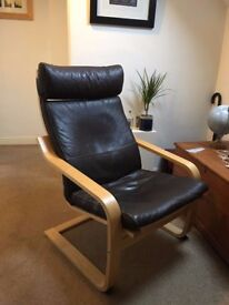 Ikea brown leather armchair and foot stool