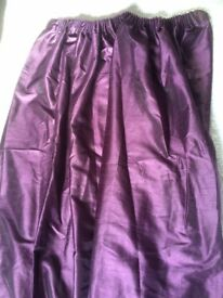 Beautiful dark purple silk effect curtains and tiebacks