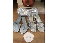 Silver sandal size 6 and bag bundle