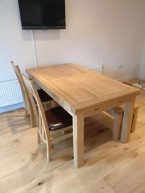 Beautiful solid wood table + matching bench and chairs