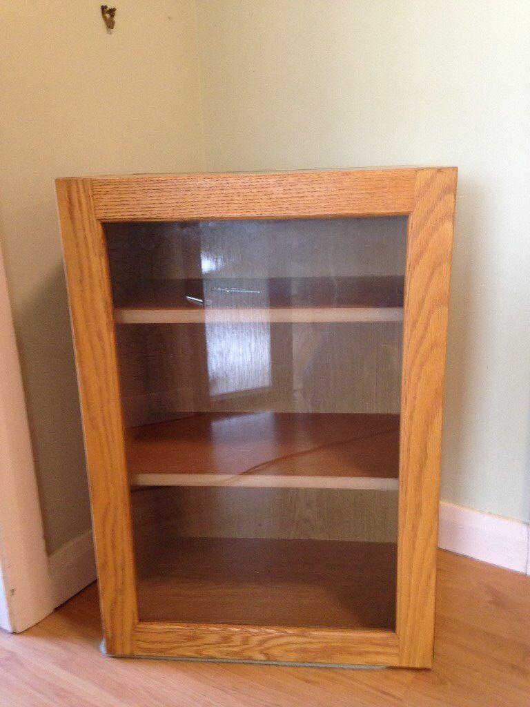 Kitchen wall cabinet, light oak, glass door with oak ...