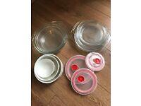 3 Ceramic microwave bowl + 3 glassware bowls/lids/plates