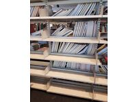 Metal library-style shelving.