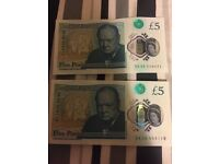 New fiver (2 new fivers with AK serial number with misprint)