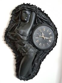 Collectible,modern art, handcrafted sculpture clock in leather. Russian clock, Gents watch photos