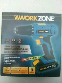 Power drill cordless 18v lithium ion lightweight
