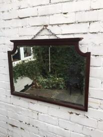 Mahogany mirror very heavy mirror lovely beveled mirror and frame