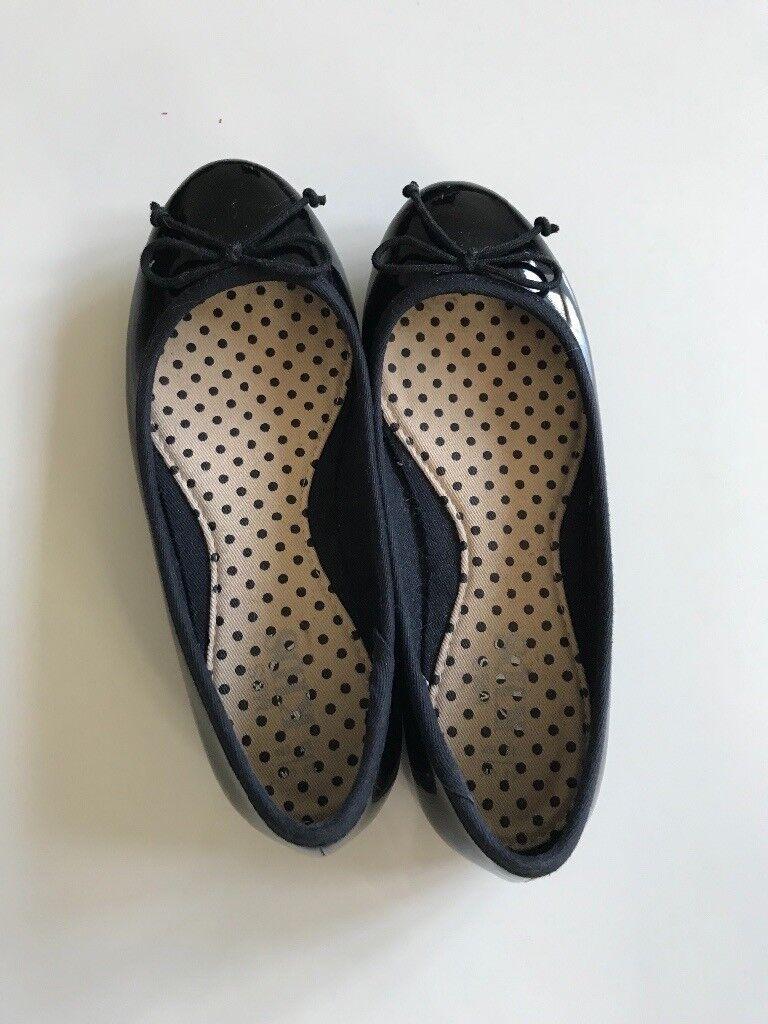 Marks & Spencer's black patent ballet style shoes, size 12 - unworn