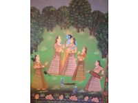 Very large, decorative Indian painting on cotton - Krishna with Gopis