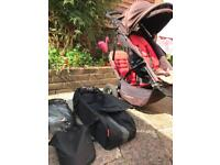 Phil n teds dot double buggy pushchair shade and raincover