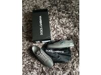 Authentic brand new Dolce and Gabbana trainers. Size 10, leather, grey, with box and dust bag