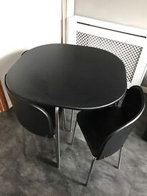 Black Space Saver Table and 4 Chairs
