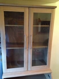 Glass book cabinet with lower cupboard
