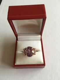 7ct Amethyst Yellow 9K Gold Ring. Size N