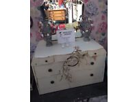 Upcycled Dressing Table with Mirror - Painted in Farrow & Ball Clunch