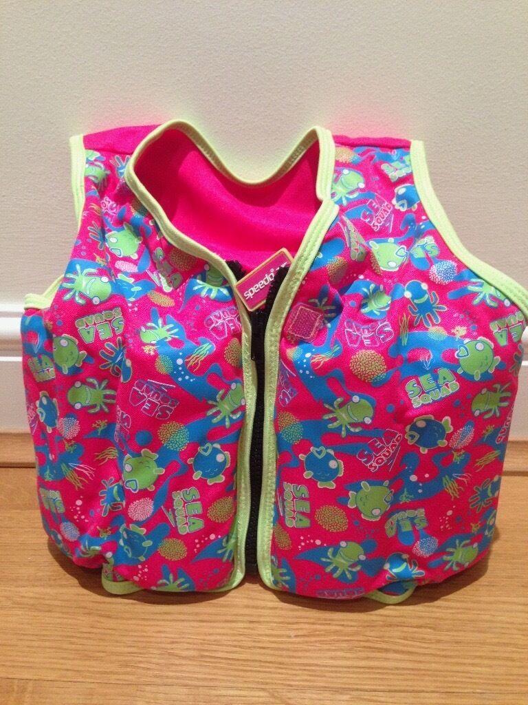 Speedo Sea Squad Girls Swim Vest Float Jacket / 3-4 Years or 18-22kg