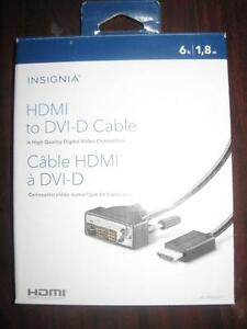 Insignia DVI D to HDMI Cable. Connect Laptop / Notebook / PC Computer to TV / Monitor. HD Display. NEW