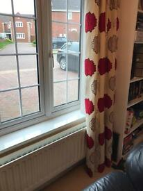 Lovely Dunelm heavyweight lined curtains. Pole hanging type. Also two cushions to match.