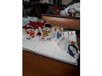 Christmas card holder decoration - snowmen