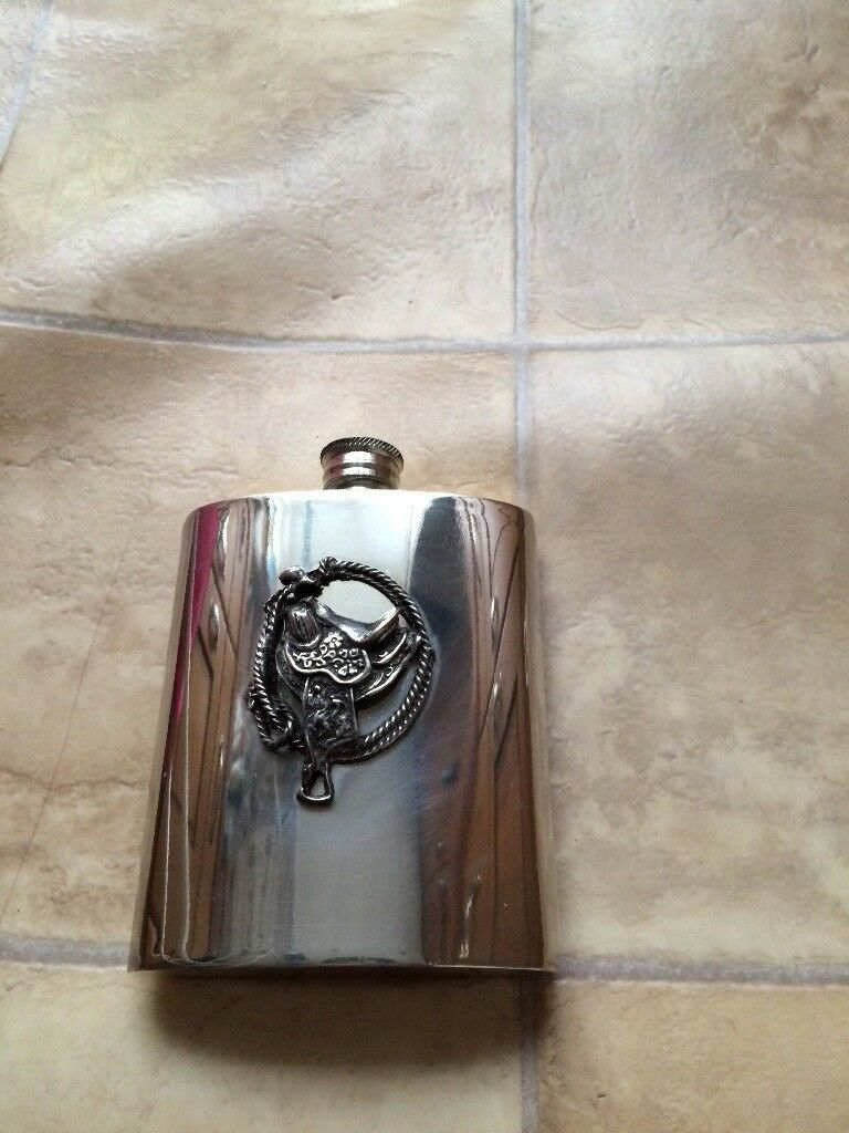 Brand New Boxed Pewter Hip Flask Saddle/Horse Riding Design