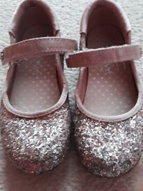 Girls size 9 Next pink sparkly party shoes