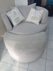 DFS Swivel/Cuddle Chair, in grey with cushions and half moon footstool