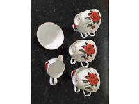 Royal Albert Tahiti 6 cups &sugar and milk jug