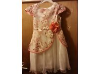 PEACH AND WHITE PLEATED DRESS NEW