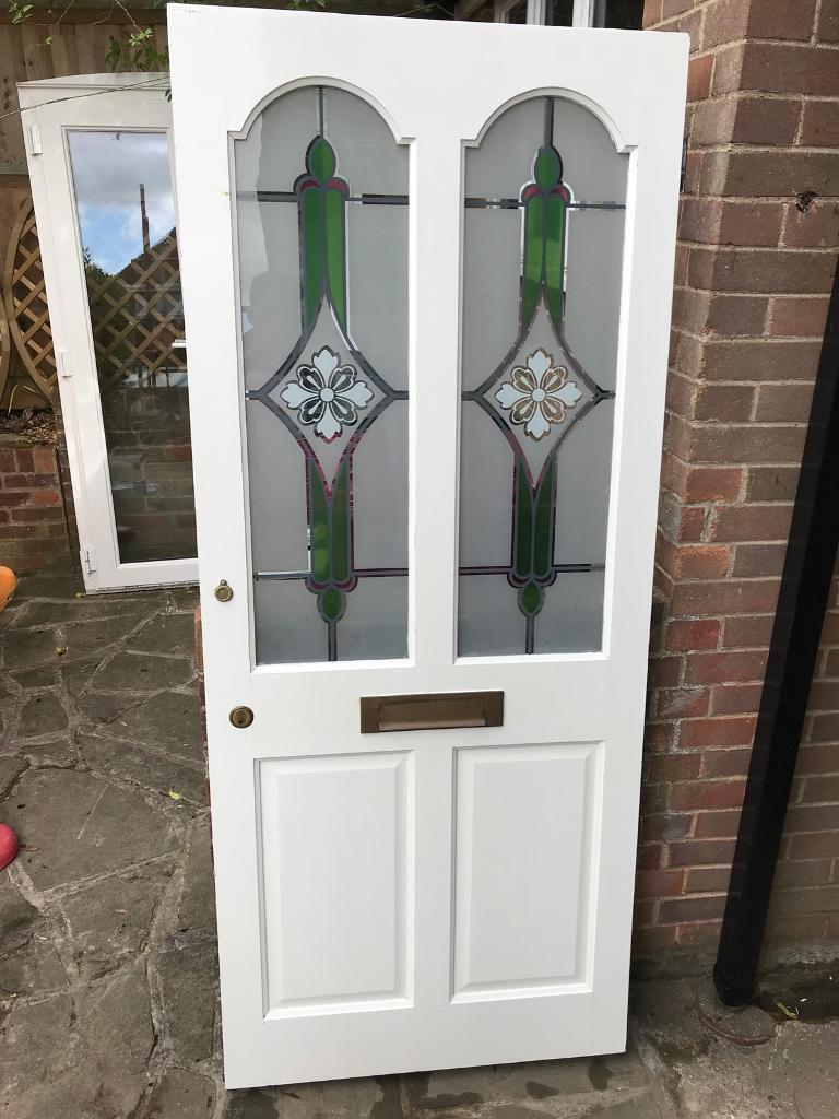 Wooden Front Door With Stained Glass Panels In Emmer Green