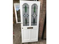 Wooden Front Door with Stained Glass Panels