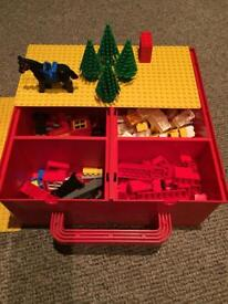 Lego bricks in red carry case