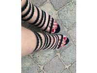 Strappy black very high heels size 6
